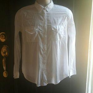 Victoria Secrets White Sheer Cotton Shirt Sz S/P